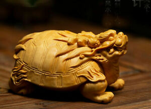 8.5 X 6 X 5 CM Hand Carved Boxwood carving : Dragon Turtle