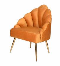 Fan Armchair Velvet Mustard Dining Chair Samtstuhl Retro Kitchen Chair Art Deco