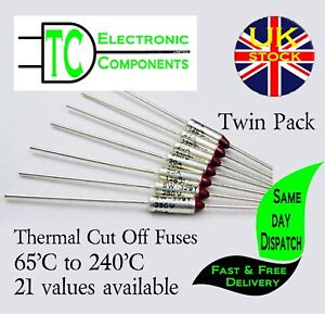 Thermal Fuses 250V 10A Aluminium Cut Off 65'C to 300'C  37 values available
