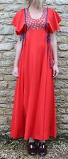 Vintage 1970s Cherry Red Floral Panel Maxi Dress S M 10