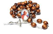 Saint Pope John Paul II big RELIC brown rosary 3rd class RELIC JP2 KAROL WOJTYLA