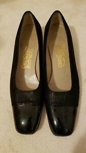 Beautiful Ladies Ferragamo Black Dress Shoes. Made In Italy