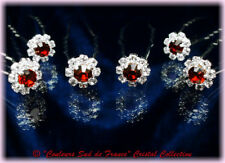 Bijou de tête accessoire mariage 6 Crochets Pics épingles cheveux cristal rouge