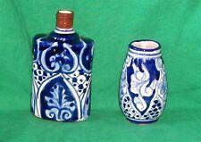 VTG TALAVERA ART CRAFT FOLK POTTERY MEXICO BLUE WHITE FLASK VASE HACIENDA DECOR