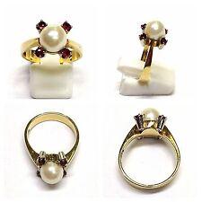 RING 585er oro con perla Rubino-Goldring RUBINO Anello Akoya Perle Anello 56 (18 mm
