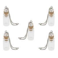 Mini Glass Bottle with Cork Necklace Pendants Vial DIY Decoration 1ml Clear