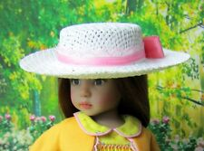 "Ivory Straw Doll Hat Bolero Sailor Boater for 8"" Head Decorate Your Own Fits 13"""