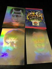 UNIVERSAL STUDIO MONSTERS HORROR (4) CARD SET !!  **RARE** HOLOGRAM CARDS