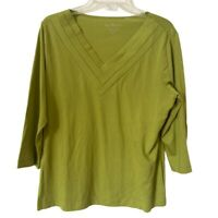 By Chicos Womens Blouse Green 3/4 Sleeve V Neck Cotton Blend Top L/12