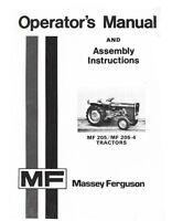 Massey Ferguson MF 205 MF 205-4 MF205 MF205-4 Tractor Owner Operators  Manual