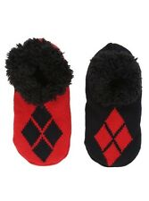 DC Comics Harley Quinn Socks Cozy Fluffy Faux Fur Lined Slipper Socks Anti Slip
