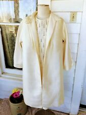 Vintage 1950's Cream Nubbed Silk Three Piece Suit Dress With Rhinestones Xl