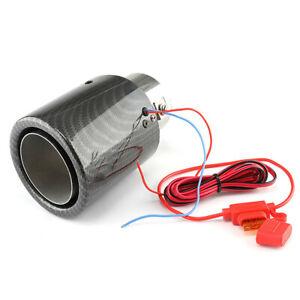 Carbon Fiber Car SUV Exhaust Muffler Pipe Tip Tail LED End Tube Red Light Single