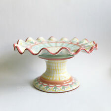 """Mackenzie Childs Fluted """"Madison"""" Pattern 12 Inch Pedestal Cake Plate Stand Tray"""