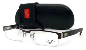 Ray Ban RX6182 2713 Brown Matte Gunmetal  / Demo Lens  55mm Eyeglasses