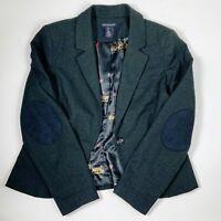 British Khaki Size Large Blazer Jacket Gray Plaid Elbow Patches Casual