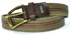 NIKE G-FLEX Brown Leather & Olive Green Canvas Golf Belt Men's Size 42
