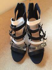 New Black White High Heel Dress Sandal size 7.5