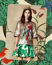 $4,500 DOLCE & GABBANA Blouse Gold Sequined Parrot Crystal T-shirt Womens