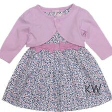 Floral dress with baby pink bolero detatched. Quality & stylish 100%cotton 6-12m