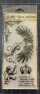 Tim Holtz Visual Artistry Clear Stamps~REGAL FLOURISH~Rampant Lion, Crown WINGS