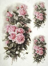 Carta di riso per Decoupage Scrapbook Craft sheet BOUQUET DI ROSE ROSA CHIARO