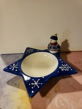 St Nicholas Square Snowman dish Christmas Winter Decor 2000