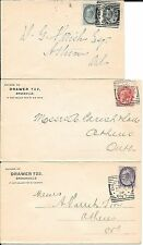 CANADA-Brockville, ONT; 1898 / 1899- 3 good squared circle PMKs on covers- all t
