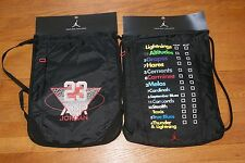 Lot of 2 Jordan Nike Team Training Gym Sack Draw Cord String Hacky Bag Black Sac