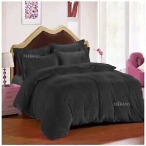 5 PC Gray Plain Shimmer Velvet Duvet Cover Set Every Size (Twin / Queen / King)