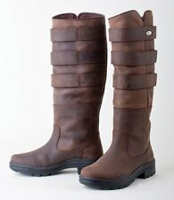 Rhinegold Colorado Adjustable Long Leather Equestrian Country Stable Boots