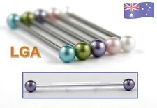 Lilac Pearl Industrial Tongue bar barbell 14g 35mm Ear Cartilage FREE POST