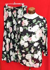 2 PC JAEGER Womens Floral Black Off White Pink Blouse Shirt Top Skirt Set 14 16