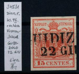 LOMBARDEI-VENETIEN 1850 15C, ZINNOBERROT, FARBTIEF! P.F.! GUIDIZOLO. SIGNUM!