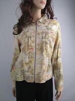 Chico's Women's Yellow Print Zip Front Linen Blend Jacket Size 1