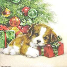 3 x Single SMALL Paper Napkins Decoupage Christmas Tree Gift Guard Dog S154