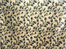 Black Gold Leaf Furnishing Curtain Fabric 35 Metres Roll .Satin Finish .FFG9