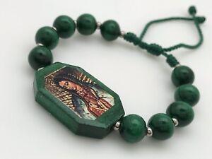 Pulseras de la virgen de guadalupe ajustables unixes handmade color verde