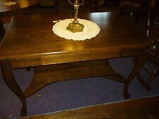 Antique oak Desk Library table ornate Larkin co chippendale feet refinished 1900