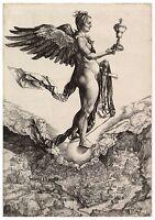 Nemesis (Das große Glück) Albrecht Dürer Papier Leinwand