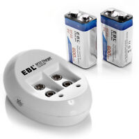 2PCS EBL 600mAh 9V 6F22 Li-ion Rechargeable Batteries + 9-Volt 2 Slot Charger US