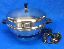 "Farberware Electric 12"" Skillet Buffet Server Fry Pan Pedestal Stainless Steel"