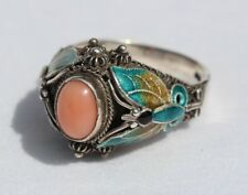 Chinese Pink Angel Skin Coral Cloisonne Enamel Sterling Silver Ring Butterfly