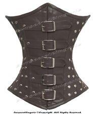 26 Double Steel Boned Waist Training Brown Genuine Leather Underbust Corset M