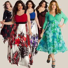 femme grande taille col V dentelle fleur robe longue habillé soirée robe de bal