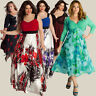 Women Lady Formal Plus Size V-Neck Lace Long Dress Evening Prom Gown Elegant NEW