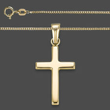 Kinder Erst- Kommunion Kreuz Anhänger Echt Gold 333 mit Kette Silber vergoldet