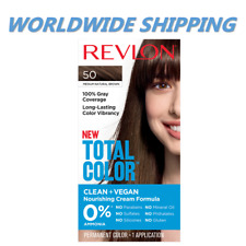 Revlon Total Farbe Haar Farbstoff 50 Medium Naturbraun 100% Deckung Welt Versand