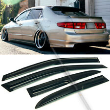 For 03-07 Accord 4DR Coupe Mugen Style 3D Wavy Black Tinted Window Visor Vent