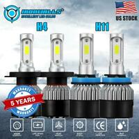 4× Combo LED Headlight H4 & H11 High /Low Bulbs Fog Light 6000K 3600W 540000LM